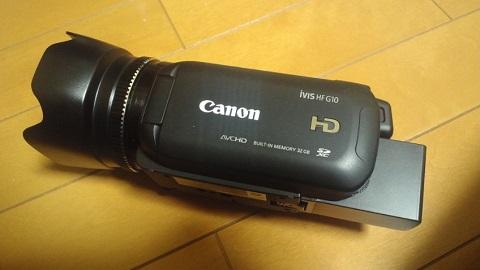 Canon iVIS HF G10互換バッテリー装着画像