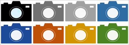 シンプルカメラアイコン素材(8個)イメージ
